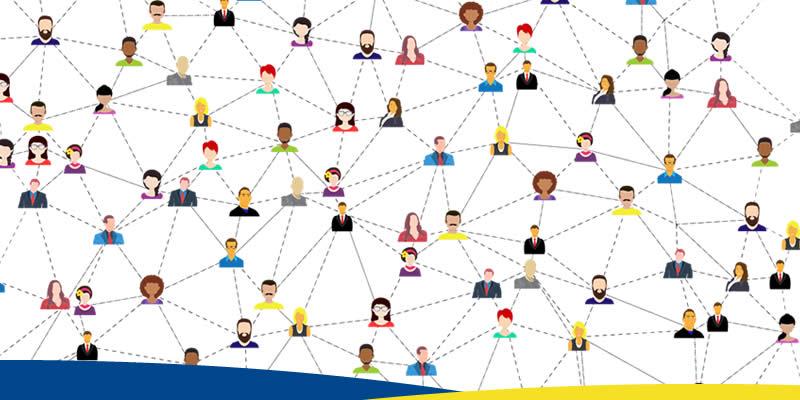 Ilustração de uma rede de pessoas conectadas