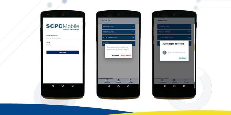Três celulares mostrando a tela do aplicativo SCPC Mobile